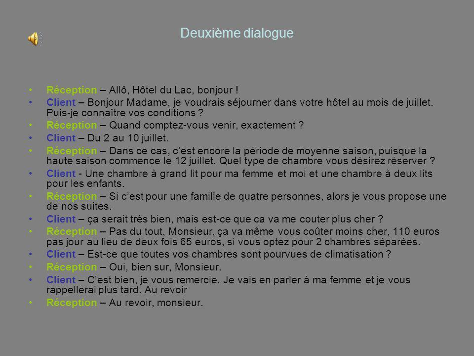 Deuxième dialogue Réception – Allô, Hôtel du Lac, bonjour !
