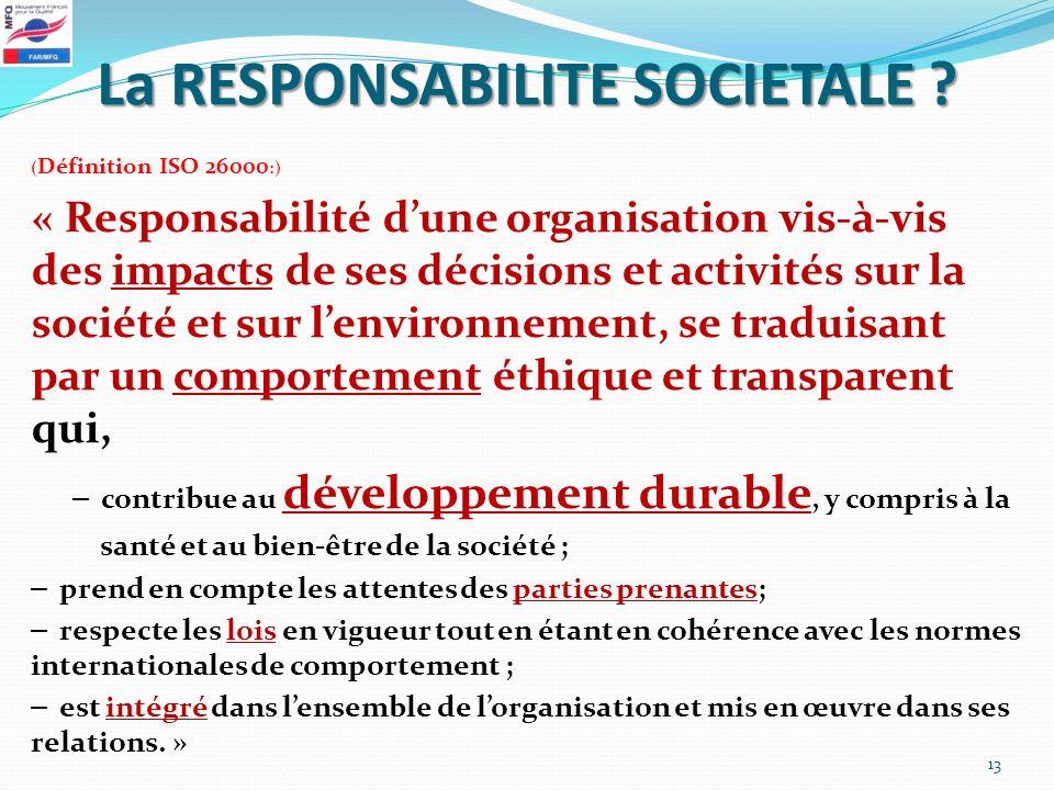 La RESPONSABILITE SOCIETALE