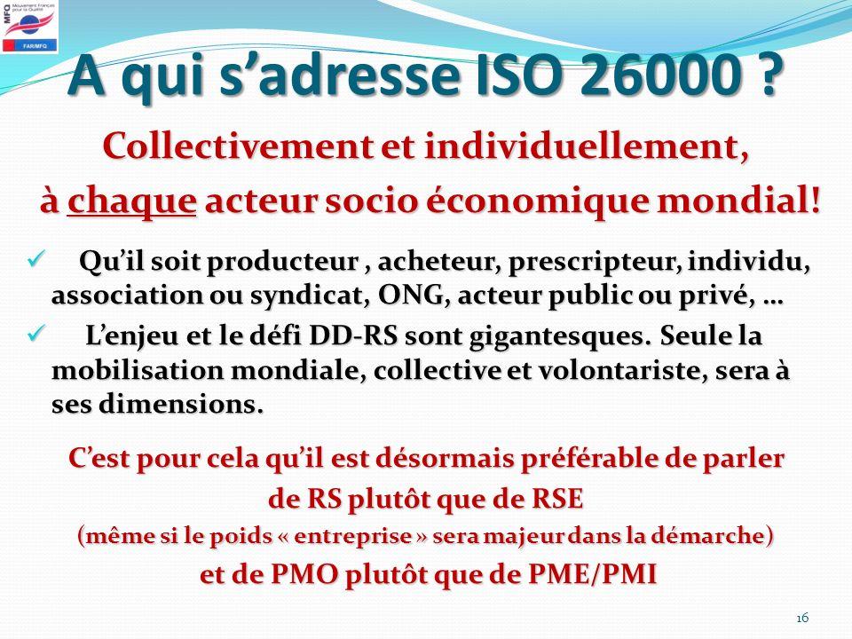A qui s'adresse ISO 26000 Collectivement et individuellement,
