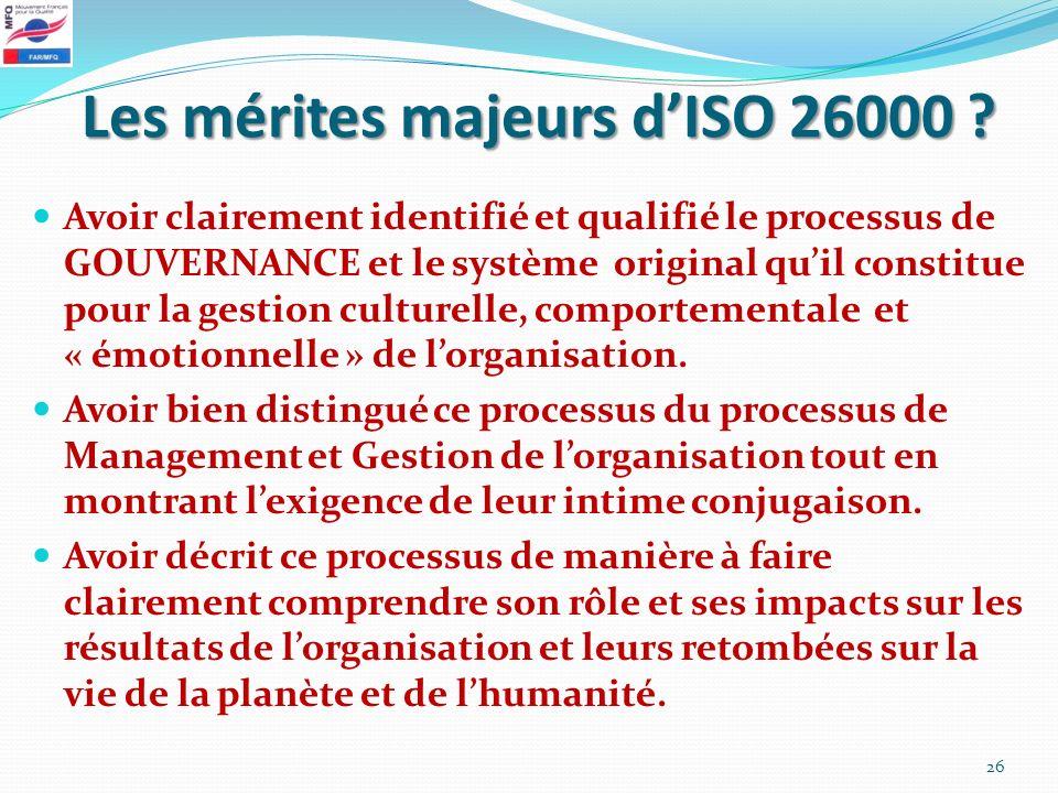 Les mérites majeurs d'ISO 26000