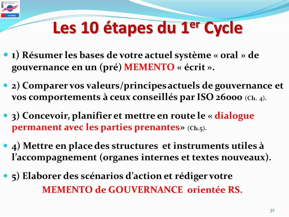 Les 10 étapes du 1er Cycle1) Résumer les bases de votre actuel système « oral » de gouvernance en un (pré) MEMENTO « écrit ».