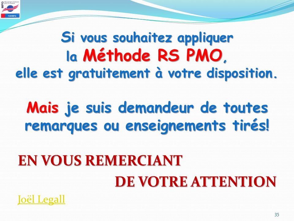 Si vous souhaitez appliquer la Méthode RS PMO, elle est gratuitement à votre disposition. Mais je suis demandeur de toutes remarques ou enseignements tirés!