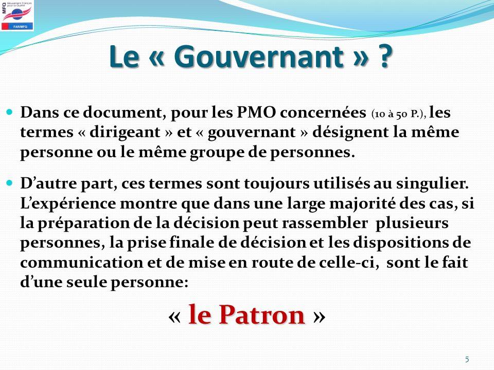 Le « Gouvernant » « le Patron »