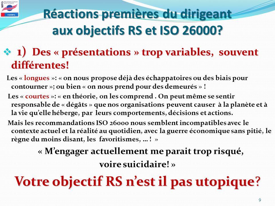 Réactions premières du dirigeant aux objectifs RS et ISO 26000