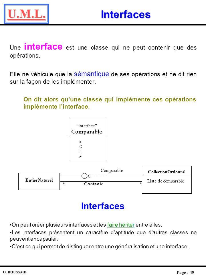 Interfaces Une interface est une classe qui ne peut contenir que des opérations.