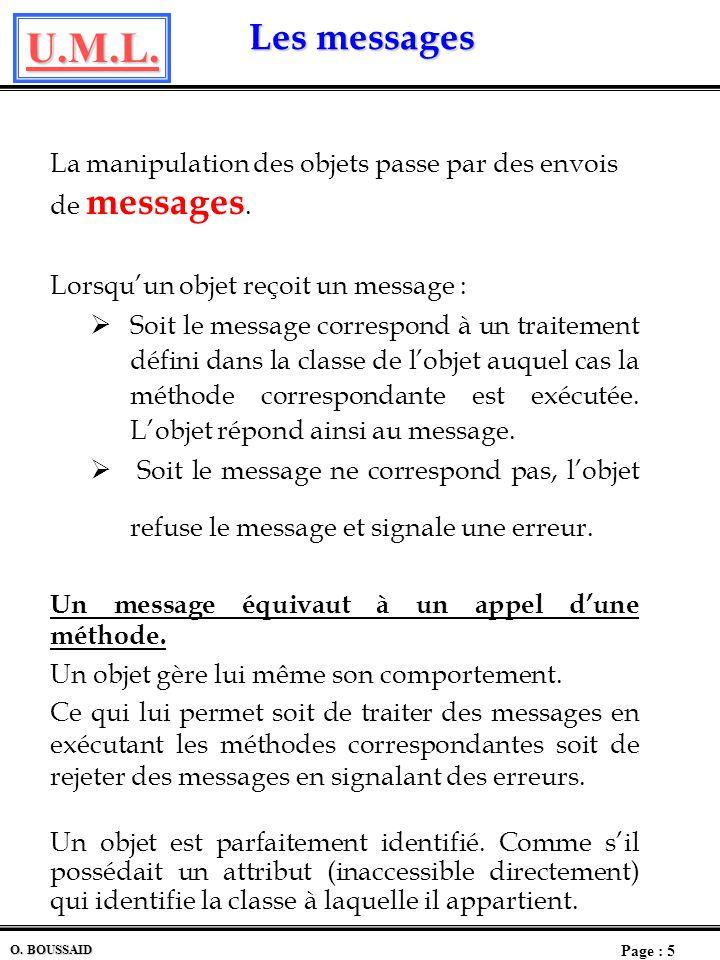 La manipulation des objets passe par des envois de messages.