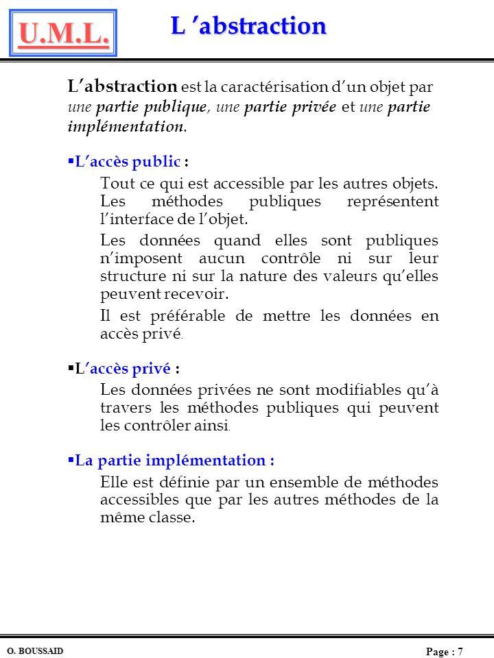 L 'abstraction L'abstraction est la caractérisation d'un objet par une partie publique, une partie privée et une partie implémentation.