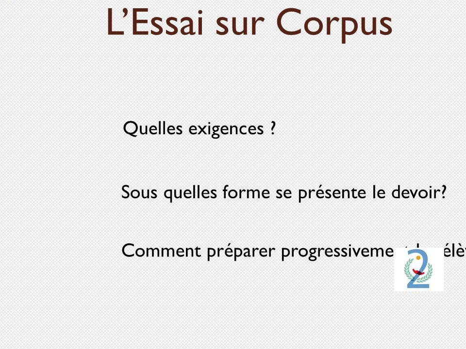L'Essai sur Corpus Quelles exigences