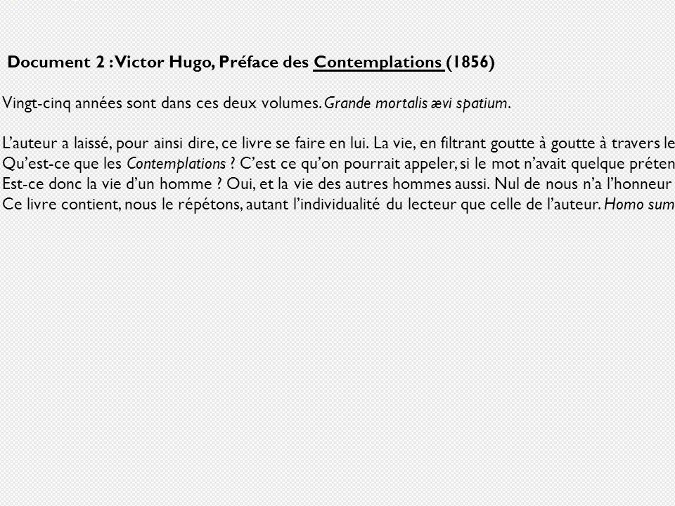 Document 2 : Victor Hugo, Préface des Contemplations (1856)