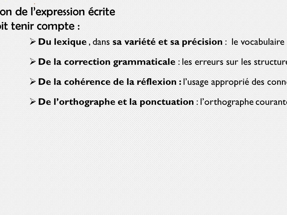 L'évaluation de l'expression écrite