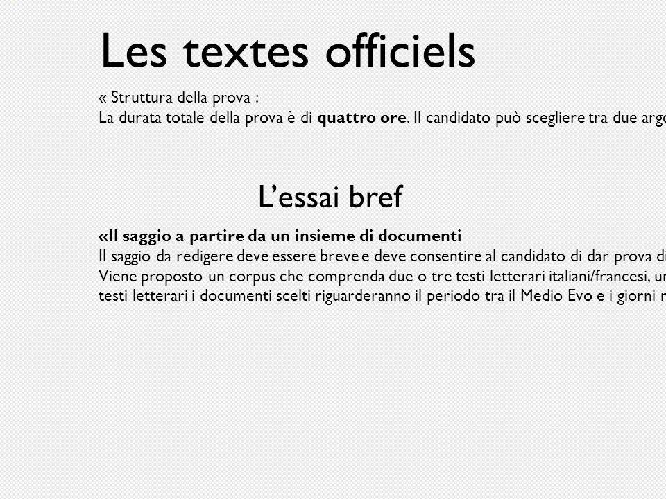 Les textes officiels L'essai bref « Struttura della prova :