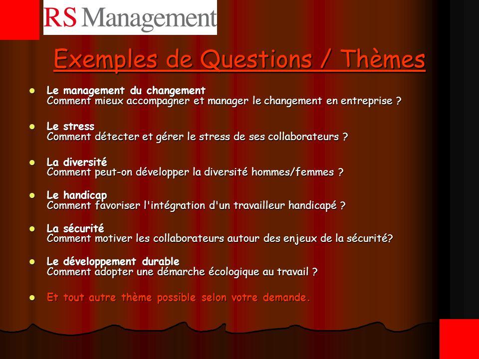 Exemples de Questions / Thèmes
