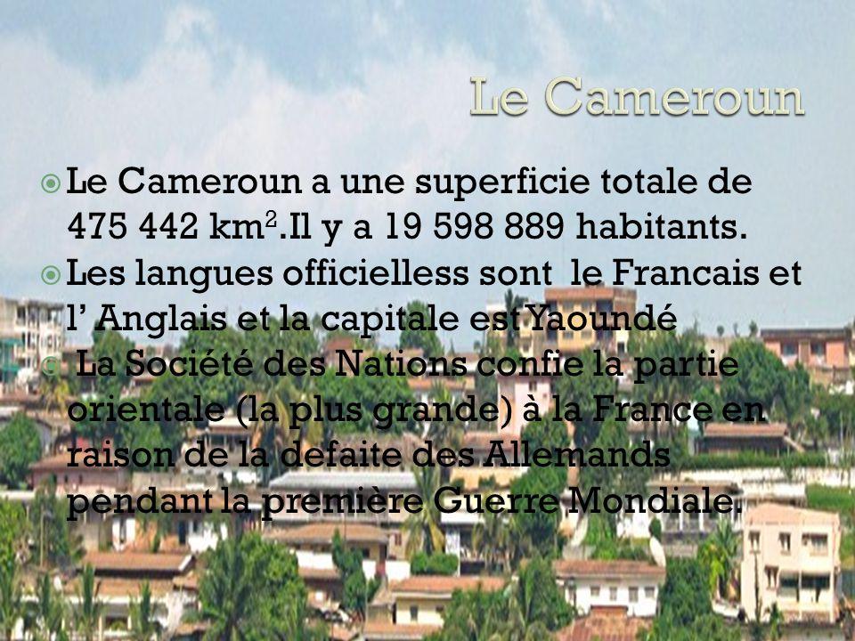 Le Cameroun Le Cameroun a une superficie totale de 475 442 km2.Il y a 19 598 889 habitants.