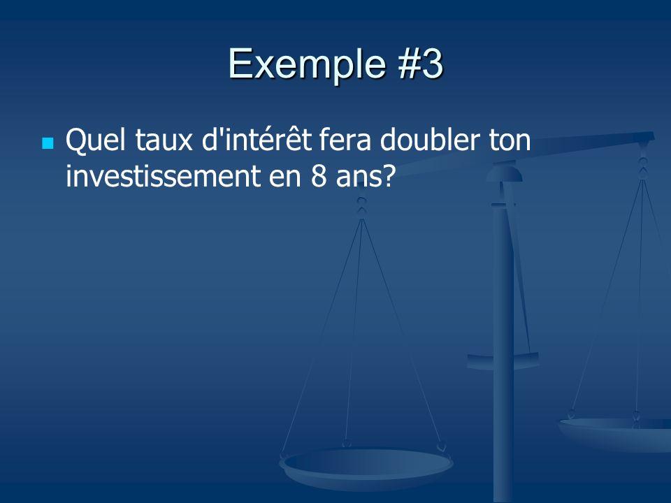Exemple #3 Quel taux d intérêt fera doubler ton investissement en 8 ans