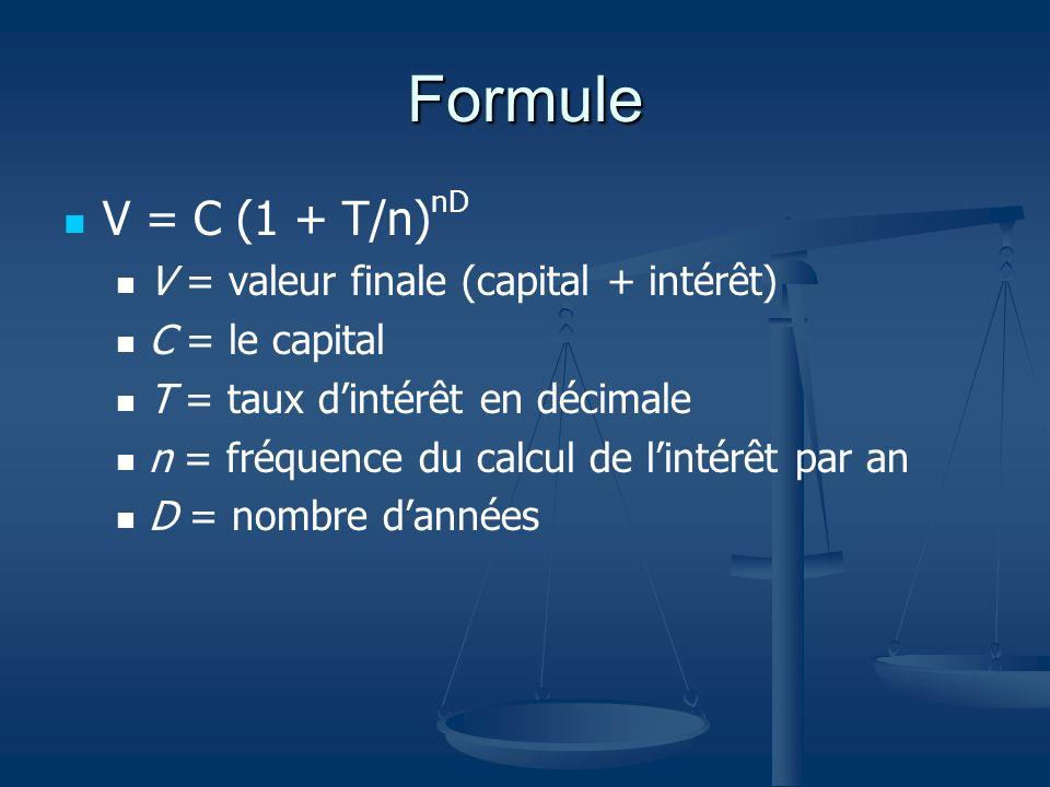 Formule V = C (1 + T/n)nD V = valeur finale (capital + intérêt)