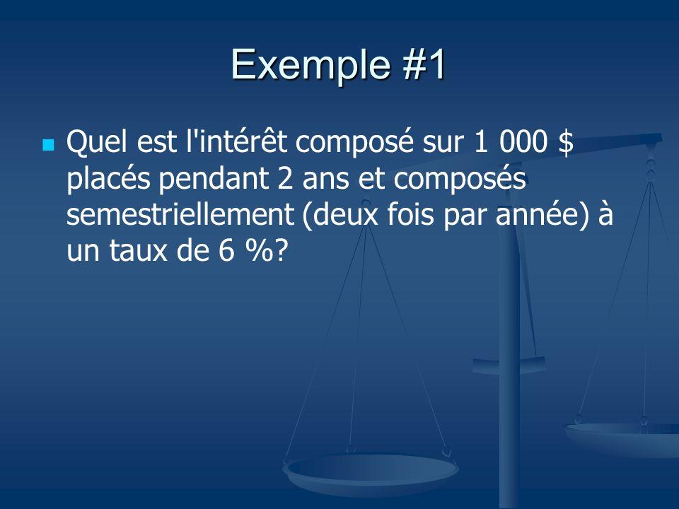 Exemple #1 Quel est l intérêt composé sur 1 000 $ placés pendant 2 ans et composés semestriellement (deux fois par année) à un taux de 6 %