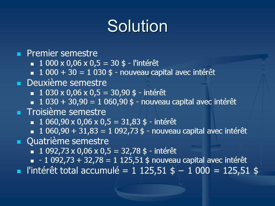 Solution Premier semestre Deuxième semestre Troisième semestre