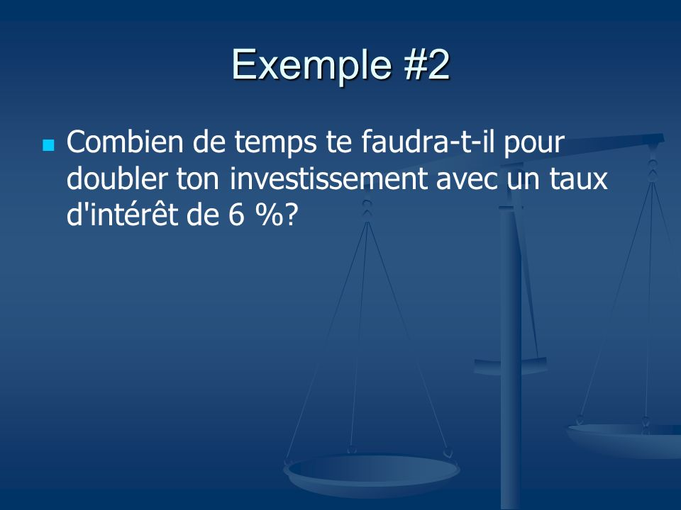 Exemple #2 Combien de temps te faudra-t-il pour doubler ton investissement avec un taux d intérêt de 6 %
