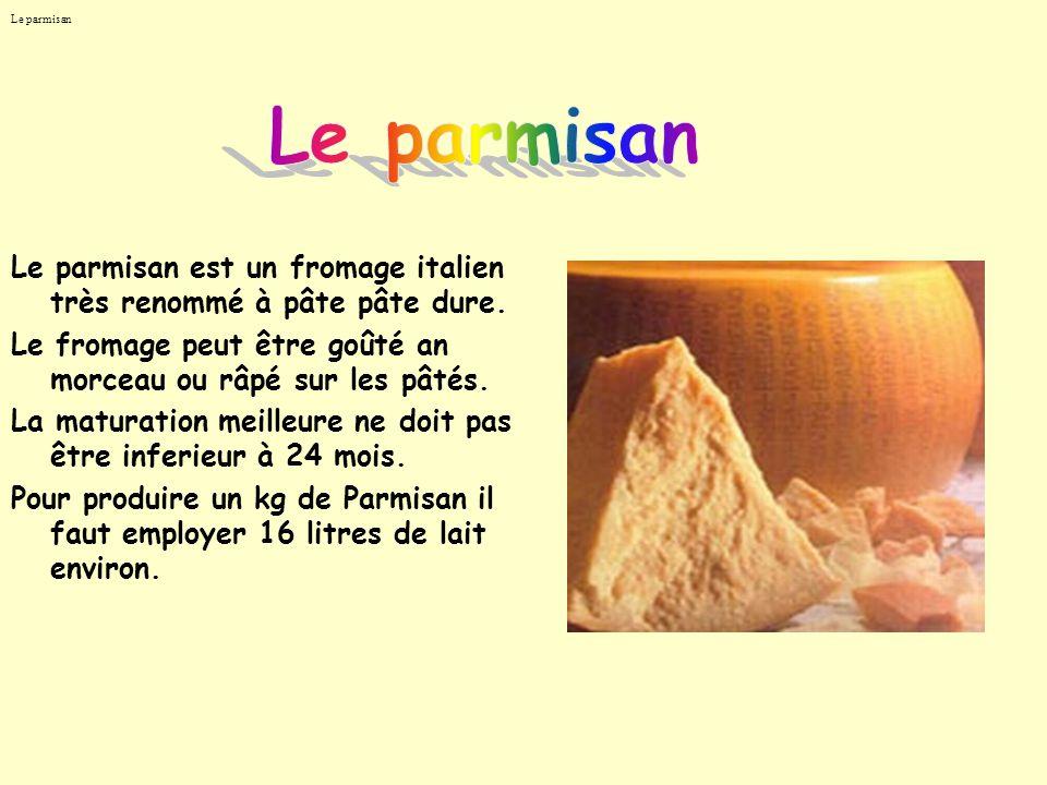 Le parmisan Le parmisan. Le parmisan est un fromage italien très renommé à pâte pâte dure.
