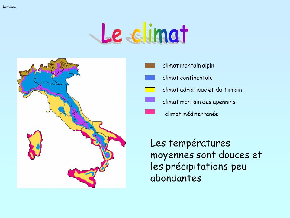 Le climat Le climat. climat montain alpin. climat continentale. climat adriatique et du Tirrain.