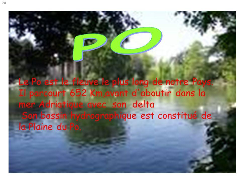 PO PO. Le Po est le fleuve le plus long de notre Pays. Il parcourt 652 Km,avant d aboutir dans la mer Adriatique avec son delta.