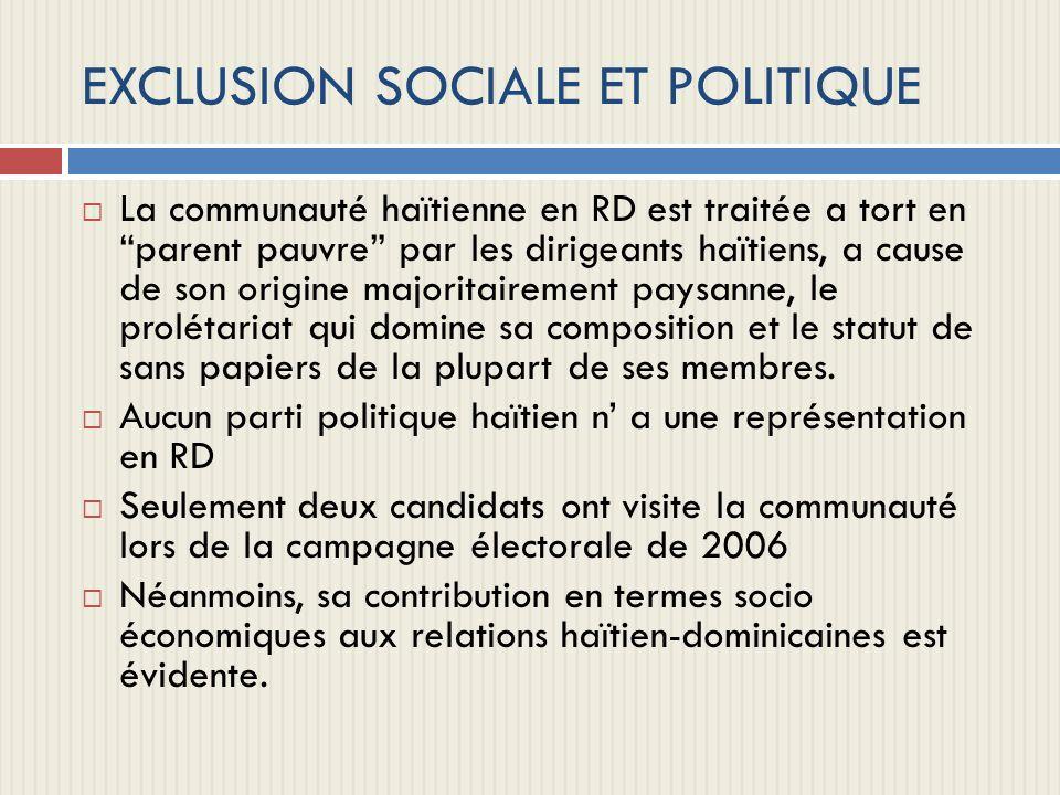 EXCLUSION SOCIALE ET POLITIQUE