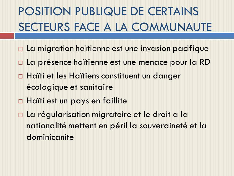 POSITION PUBLIQUE DE CERTAINS SECTEURS FACE A LA COMMUNAUTE
