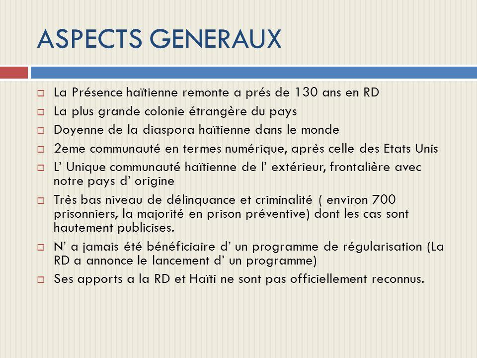 ASPECTS GENERAUX La Présence haïtienne remonte a prés de 130 ans en RD