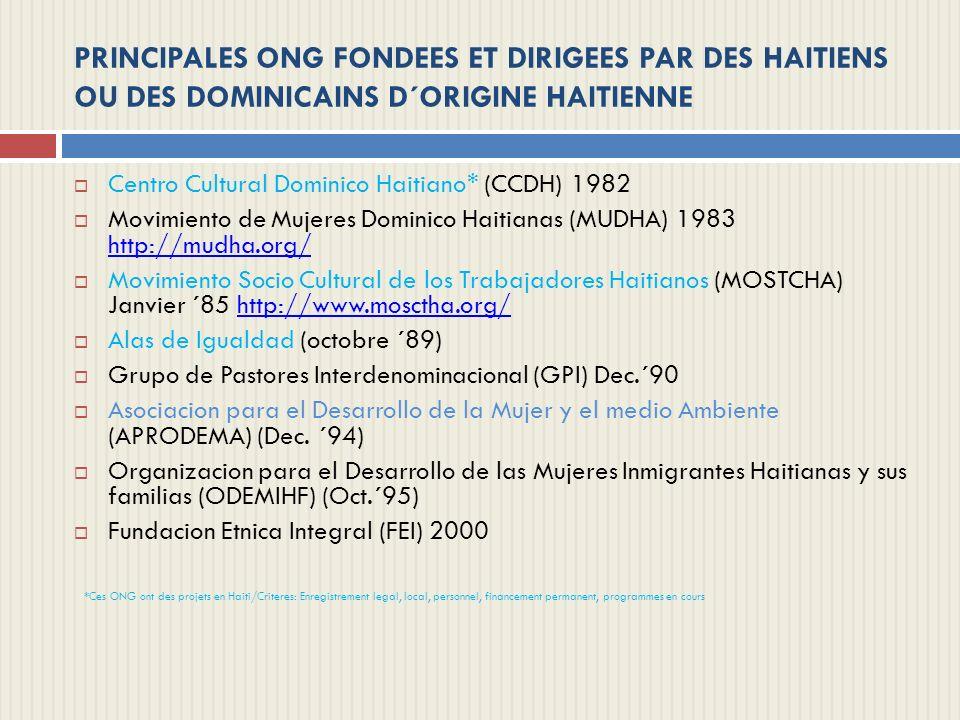 PRINCIPALES ONG FONDEES ET DIRIGEES PAR DES HAITIENS OU DES DOMINICAINS D´ORIGINE HAITIENNE