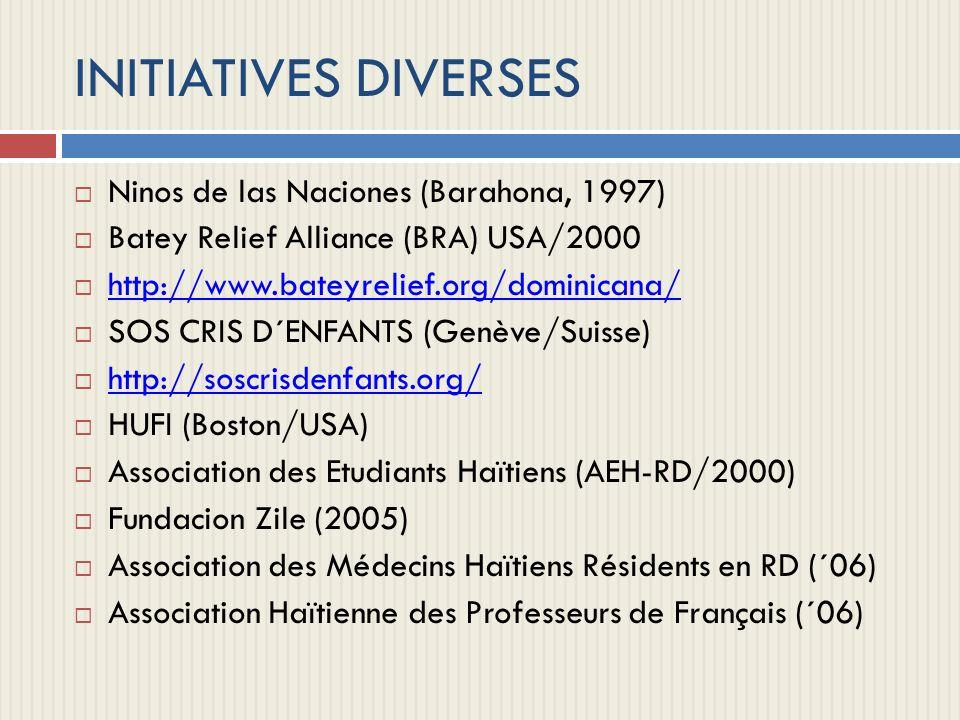 INITIATIVES DIVERSES Ninos de las Naciones (Barahona, 1997)