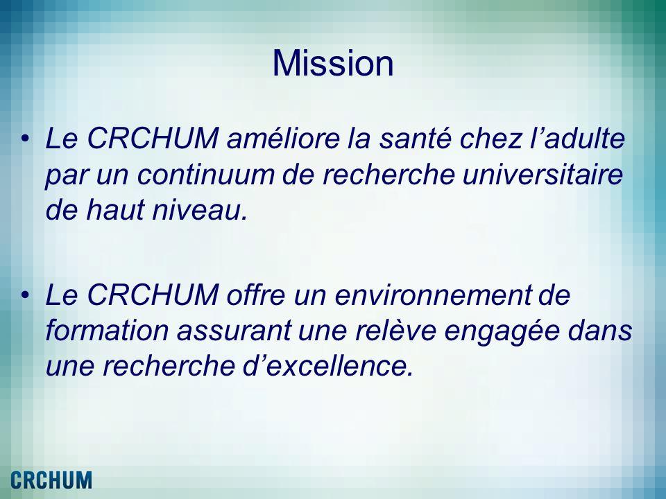 Mission Le CRCHUM améliore la santé chez l'adulte par un continuum de recherche universitaire de haut niveau.