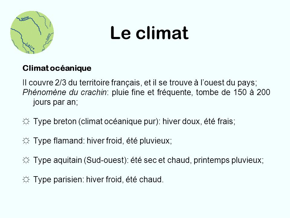 Le climat Climat océanique
