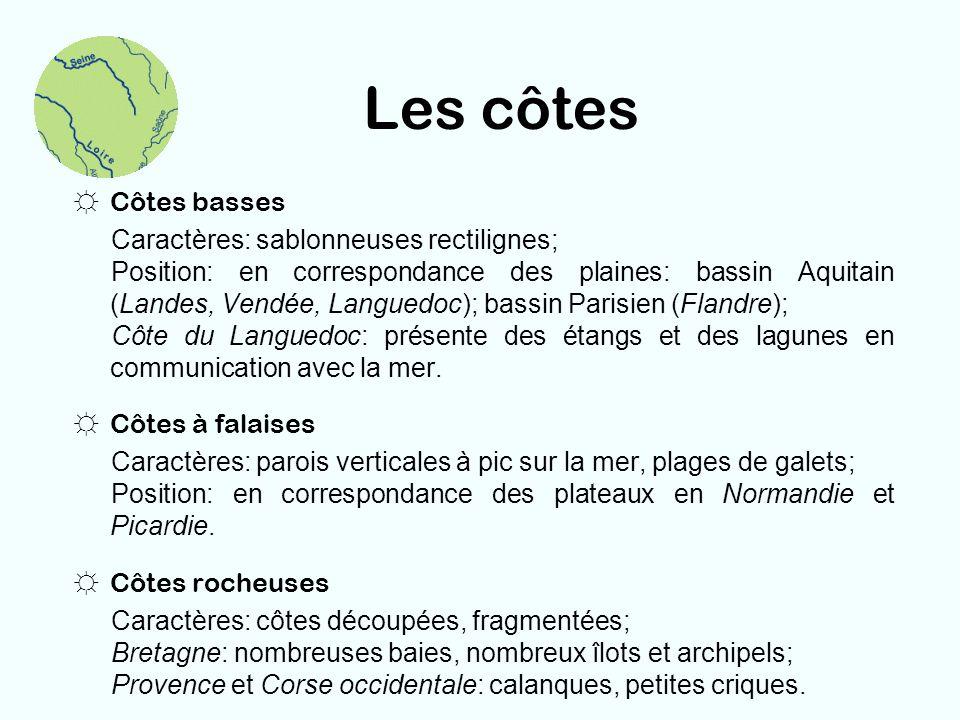 Les côtes Côtes basses Caractères: sablonneuses rectilignes;