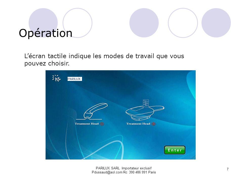 Opération L'écran tactile indique les modes de travail que vous pouvez choisir.