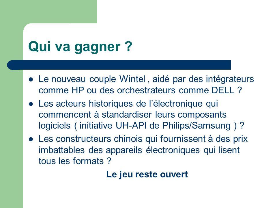 Qui va gagner Le nouveau couple Wintel , aidé par des intégrateurs comme HP ou des orchestrateurs comme DELL