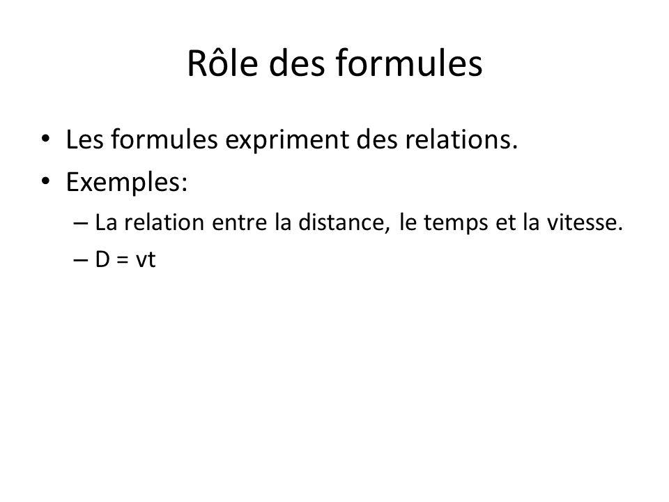 Rôle des formules Les formules expriment des relations. Exemples: