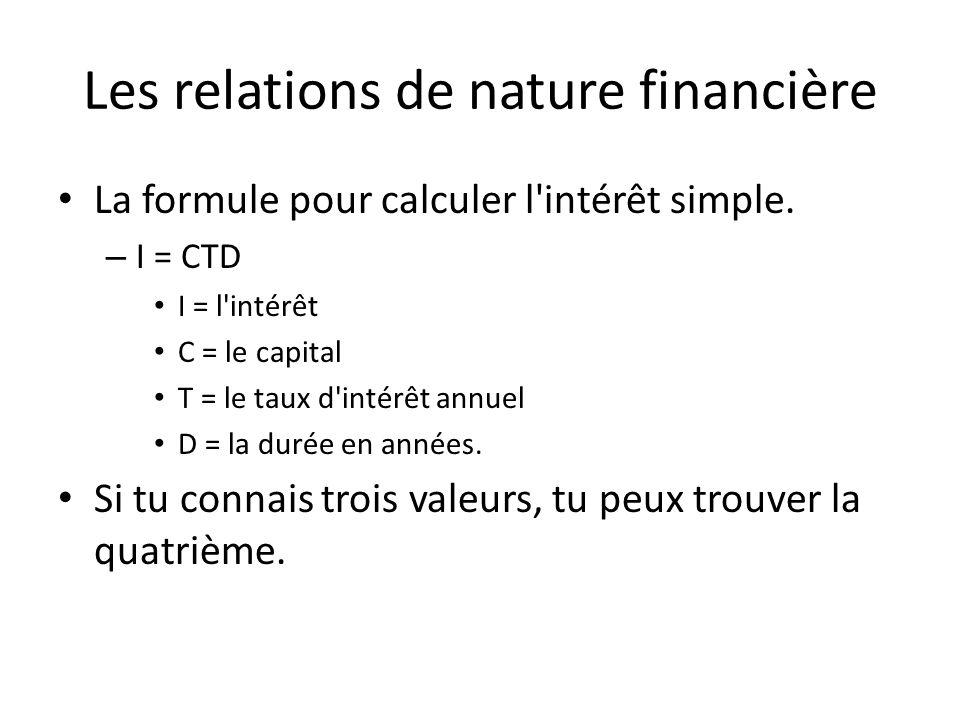Les relations de nature financière