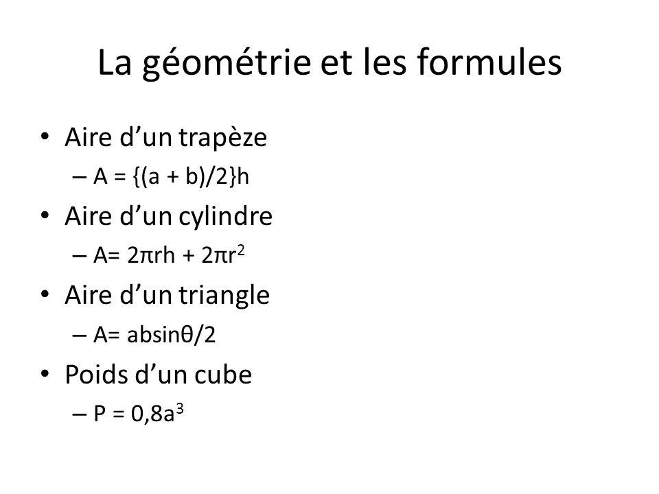 La géométrie et les formules