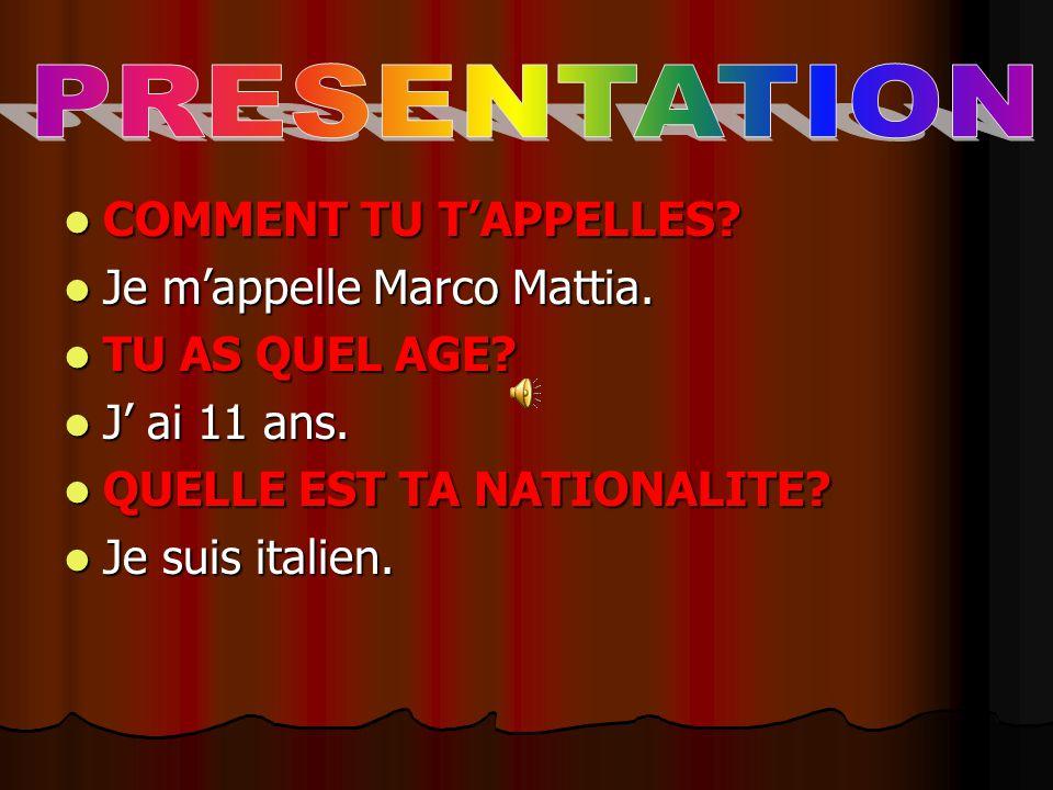 PRESENTATION COMMENT TU T'APPELLES Je m'appelle Marco Mattia.
