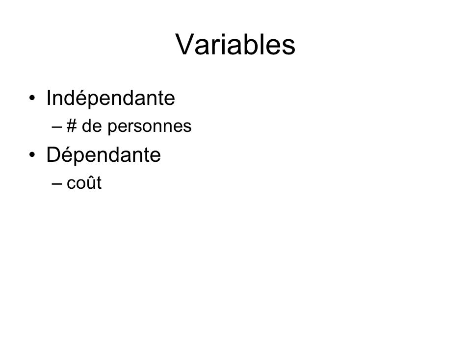 Variables Indépendante # de personnes Dépendante coût