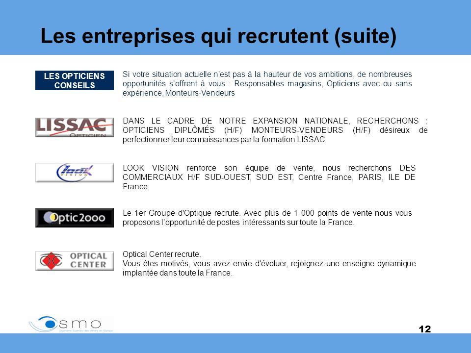 Les entreprises qui recrutent (suite)