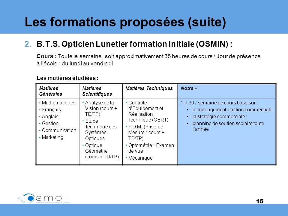 Les formations proposées (suite)