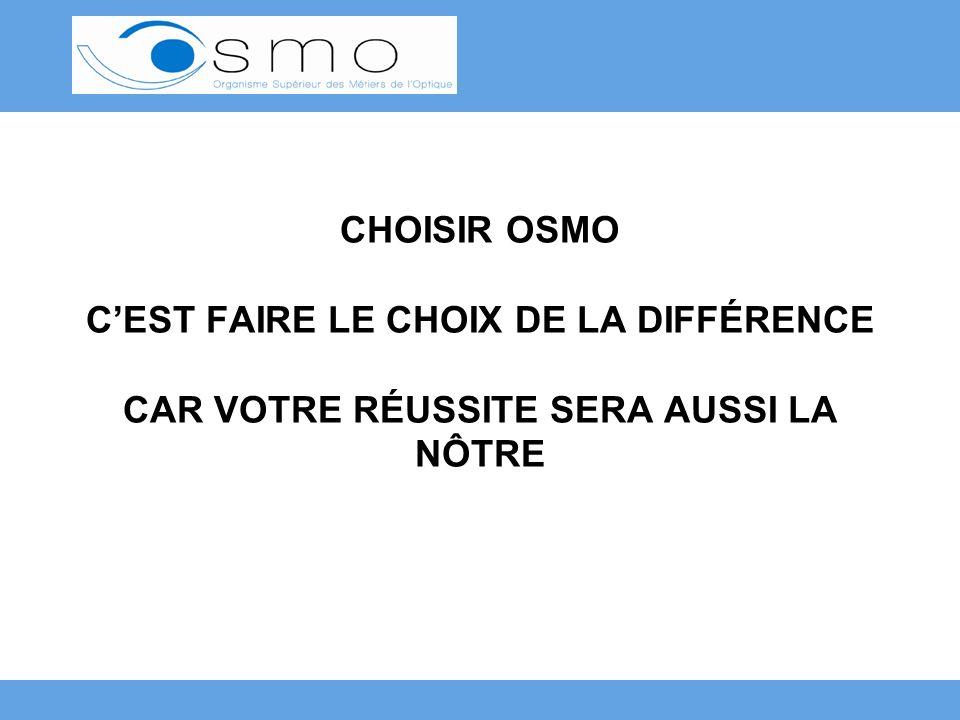 CHOISIR OSMO C'EST FAIRE LE CHOIX DE LA DIFFÉRENCE CAR VOTRE RÉUSSITE SERA AUSSI LA NÔTRE