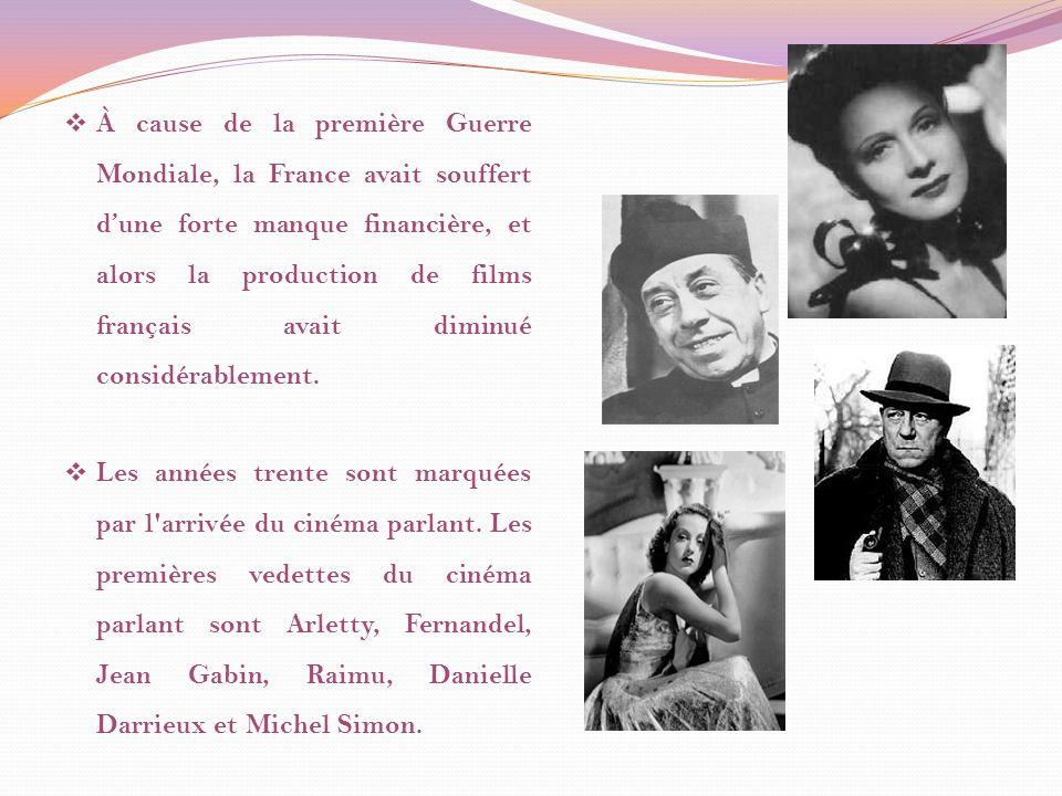 À cause de la première Guerre Mondiale, la France avait souffert d'une forte manque financière, et alors la production de films français avait diminué considérablement.