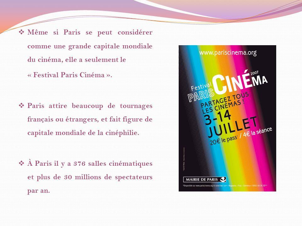 Même si Paris se peut considérer comme une grande capitale mondiale du cinéma, elle a seulement le