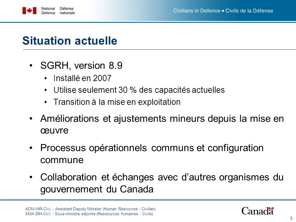 Situation actuelle SGRH, version 8.9