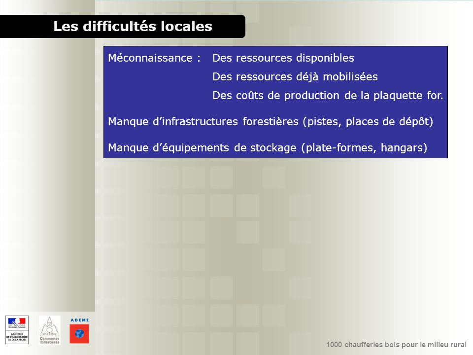 Les difficultés locales