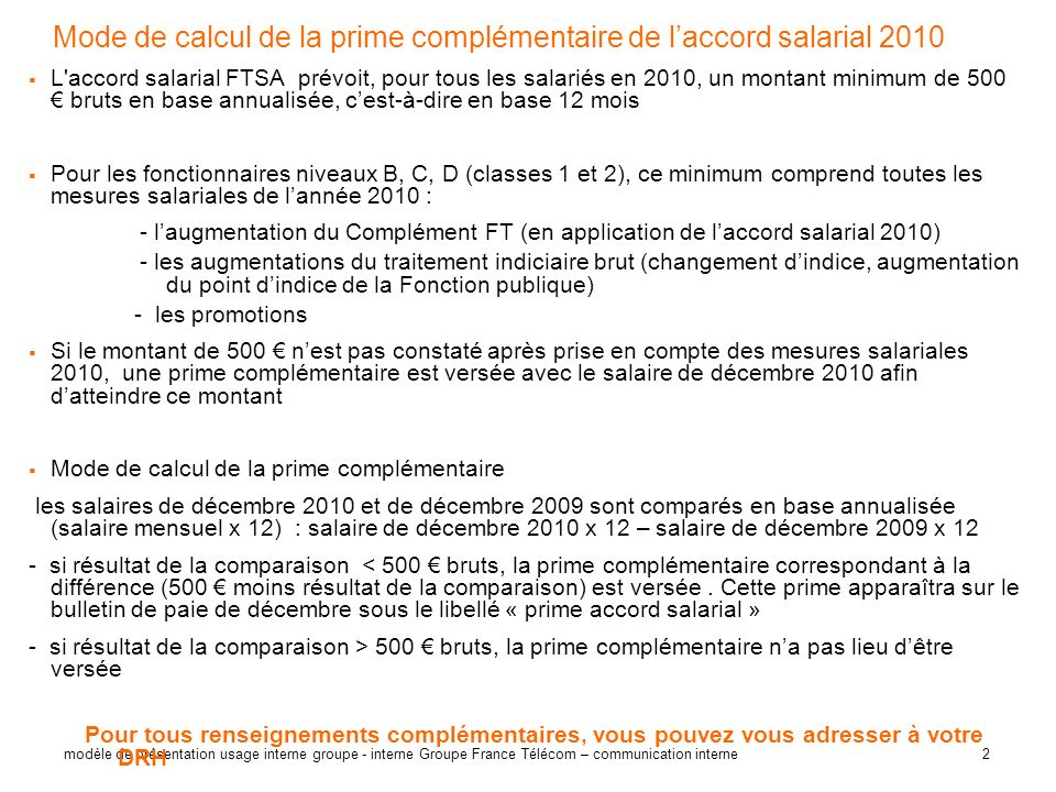Mode de calcul de la prime complémentaire de l'accord salarial 2010