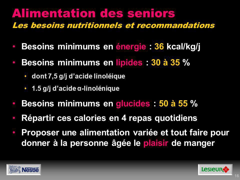 Alimentation des seniors Les besoins nutritionnels et recommandations