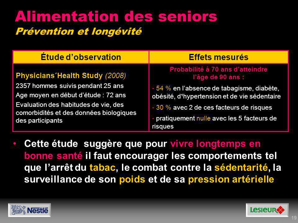 Alimentation des seniors Prévention et longévité